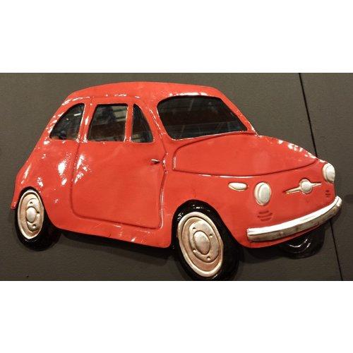 Fiat 500 rood wanddecoratie 3D 43x66cm