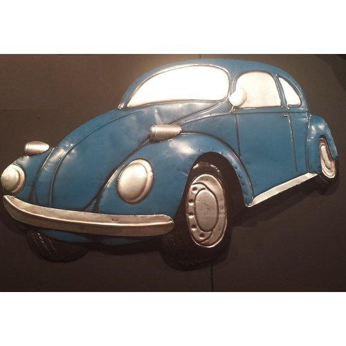 Volkswagen Kever blauw wanddecoratie 3D 50x80cm