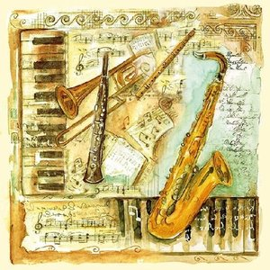 Servetten met muzikale instrumenten 33x33 cm