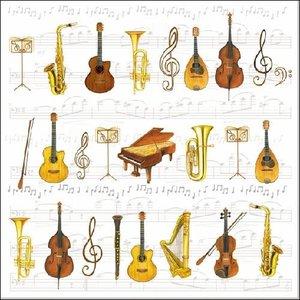 Servetten met orkest instrumenten 33x33 cm