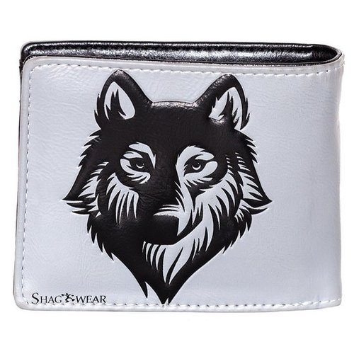 Compacte grijze heren portemonnee met een wolf