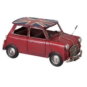 Rode Mini Cooper metalen miniatuurauto met Engelse Vlag