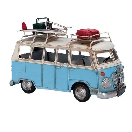Blauwe metalen modelbus