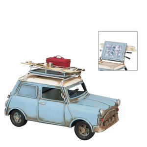 Blauwe Mini Cooper metalen modelauto met fotolijst en spaarpot