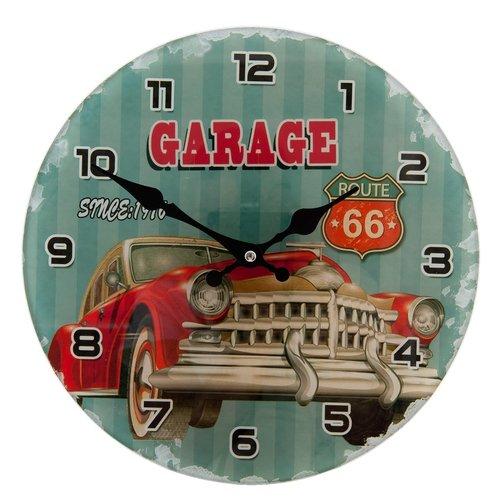 Garage Route 66 wandklok met oldtimer Ø 30 cm