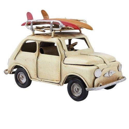 Fiat 500 metalen miniatuurauto met snowboards