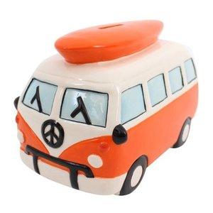 Spaarpot VW T1 oranje Hippie bus met surfplank