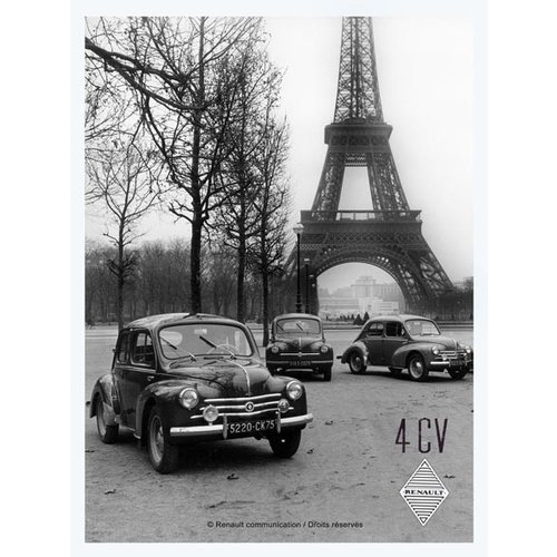 Renault 4CV metalen wandplaat 30x20 cm