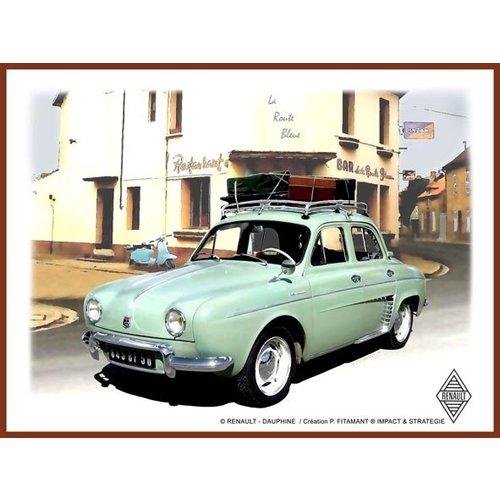 Renault-Dauphine metalen wandplaat 20x30
