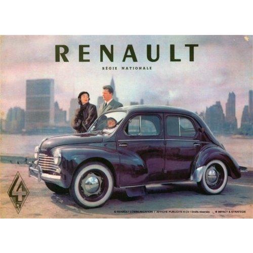 Renault Regie Nationale 4 CV metalen wandplaat 20x30