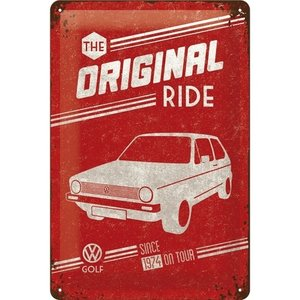 VW Golf -The Original Ride metalen wandplaat 20x30 cm