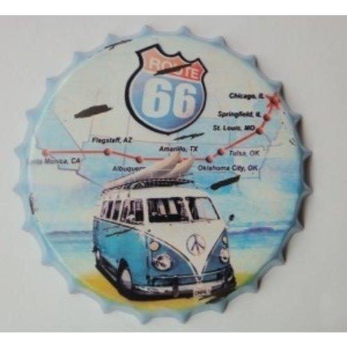 Volkswagen T1 Route 66 3D metalen kroonkurk wanddecoratie