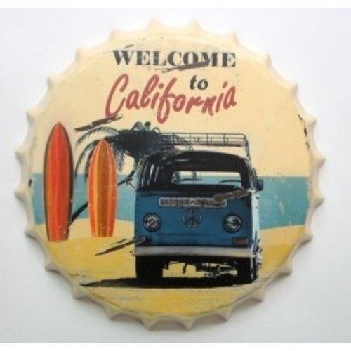Volkswagen T2 Welcome to California 3D metalen kroonkurk wanddecoratie
