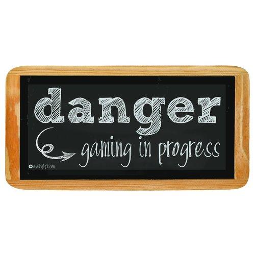 Hanging sign Danger gaming in progress
