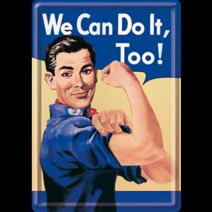 We Can Do it, Too! metalen postkaart 10x14 cm
