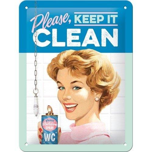 Please, Keep it Clean metalen bord 15x20