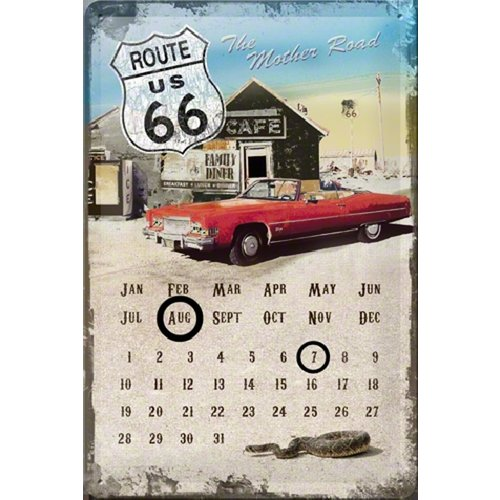 Route 66 Mother Road Calender metalen postcard
