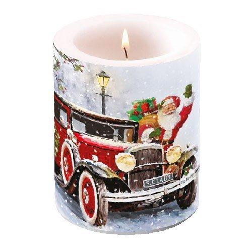 Grote lampionkaars met Santa Automobile Ø 10 cm