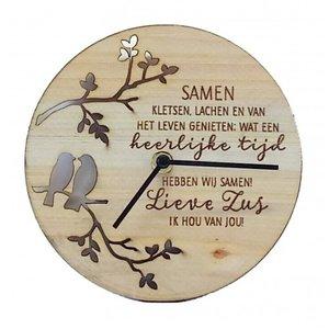 Good Times houten klok Liefste Zus