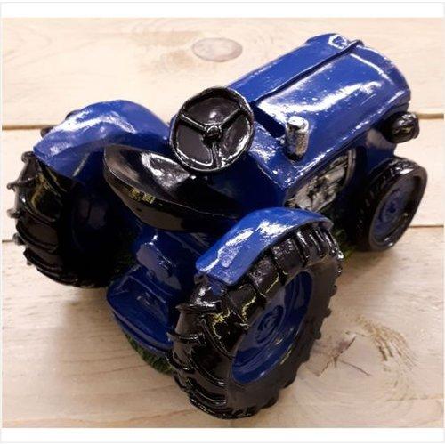 Spaarpot tractor blauw