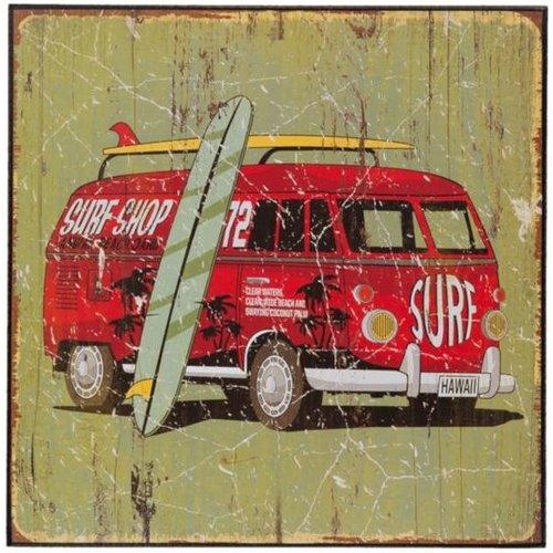 Volkswagen bus houten schilderij surf shop van Clayre & Eef