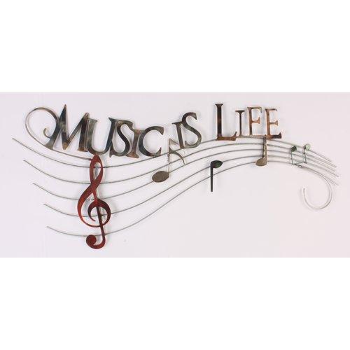 Wanddecoratie metaal Music is Life