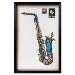 Muurdecoratie Paper Art Alt saxofoon blauw