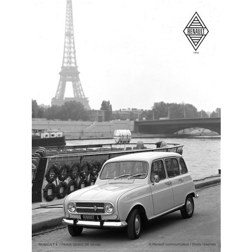 Renault R4 Paris Quais de Seine 1959 metalen wanddecoratie 20x30 cm