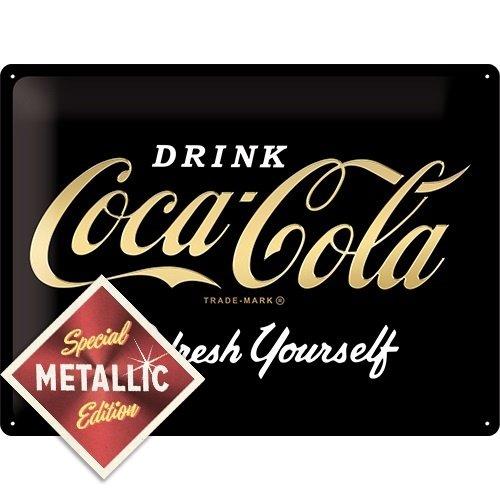 Coca-Cola - Logo Black Refresh Yourself - Special Edition metalen wandplaat 40x30