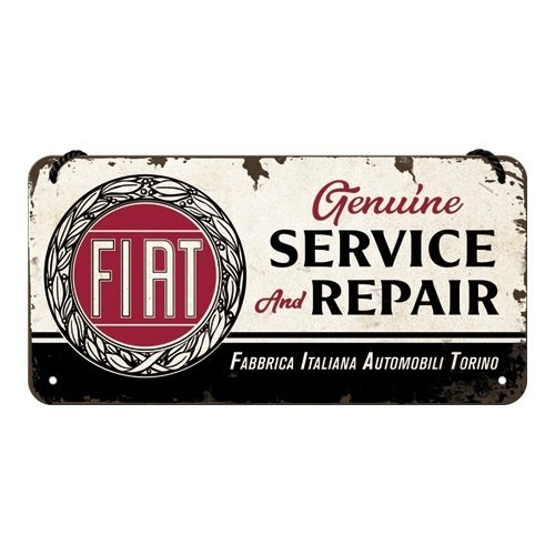 Fiat Service & Repair metalen hangbord 10x20 cm