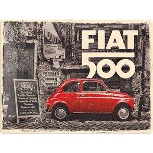 Fiat 500 rode auto in de straat metalen wandplaat  in reliëf 30x40 cm