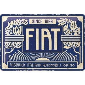 Fiat since 1899 logo blauwe wandplaat 20x30 cm