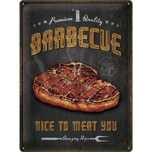 Barbecue Nice To Meat You Metallwandplatte 30x40 cm