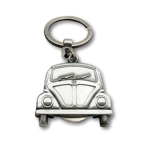 Volkswagen Volkswagen Kever Sleutelhanger Vintage zilver kleur met winkelmunt
