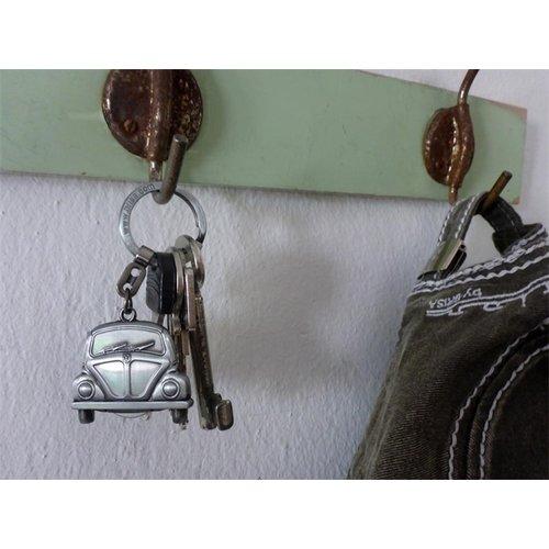 Volkswagen VW Beetle sleutelhanger met winkelmunt zilver kleur