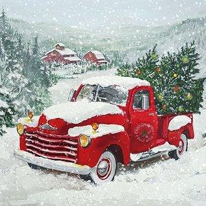 Papieren Servetten Christmas Truck