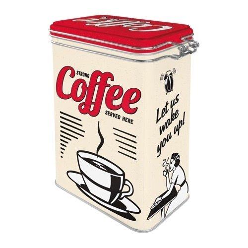 Strong Coffee served here Metall 3D Aufbewahrungsbox von Nostalgic Art mit Deckel und Clipverschluss
