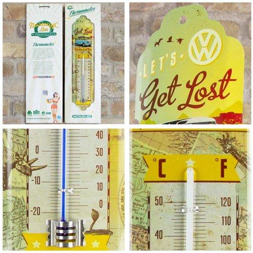 Volkswagen Volkswagen Bulli T1 Let's Get Lost metalen thermometer 28x6,5 cm