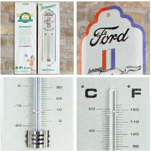 Ford Ford Mustang – Horse & Stripes Logo Metallthermometer 28x6,5 cm