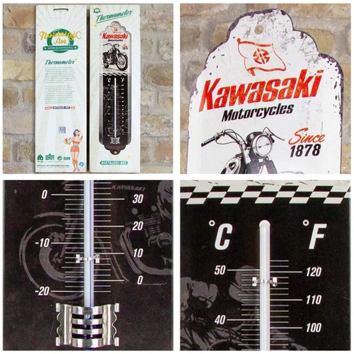 Kawasaki Kawasaki Since 1878 Metallthermometer 28x6,5 cm