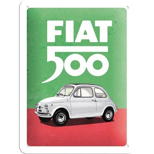 Fiat Fiat 500 Italiaanse kleuren metalen wandbord in reliëf