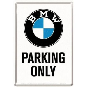BMW BMW Parking Only White Metalen Postcard 10x14 cm