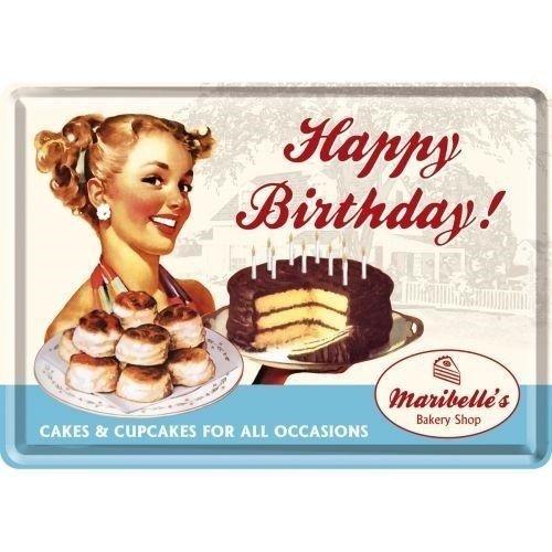Happy Birthday Metalen Postcard met envelop 10x14 cm
