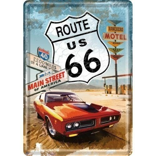 Route 66 Metalen Postcard 10x14 cm