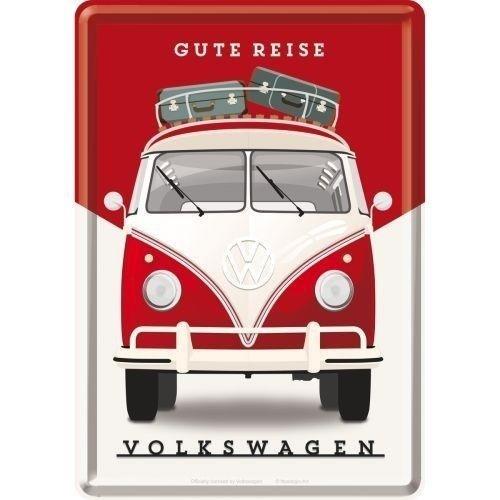 Volkswagen VW T1 Bulli Gute Reise Metall Postcarte 10x14 cm