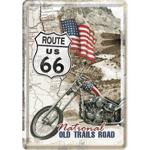 Route 66 Old Trails Road Nostalgic Art Metalen Postcard met envelope 10x14 cm
