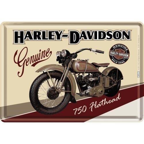 Harley Davidson Harley-Davidson Flathead Metalen Postcard 10x14 cm