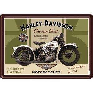 Harley Davidson Harley-Davidson Knucklehead Metalen Postcard 10x14 cm