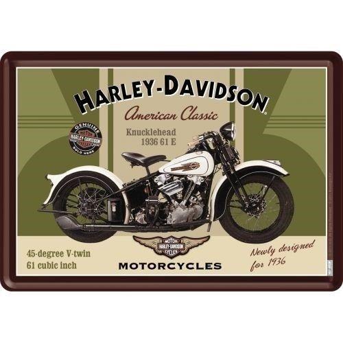 Harley Davidson Harley-Davidson Knucklehead Metall Postcarte 10x14 cm