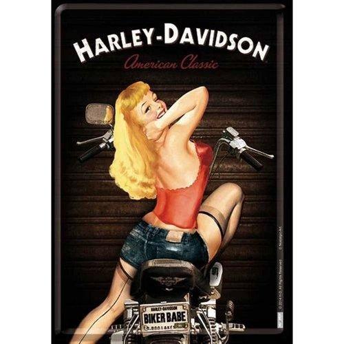 Harley Davidson Harley-Davidson Biker Babe Metalen Postcard 10x14 cm